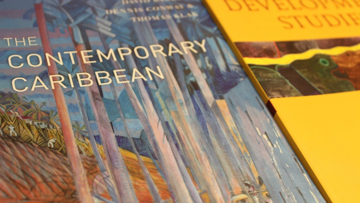 Image of books, one bearing the title 'The Contemporary Caribbean'.