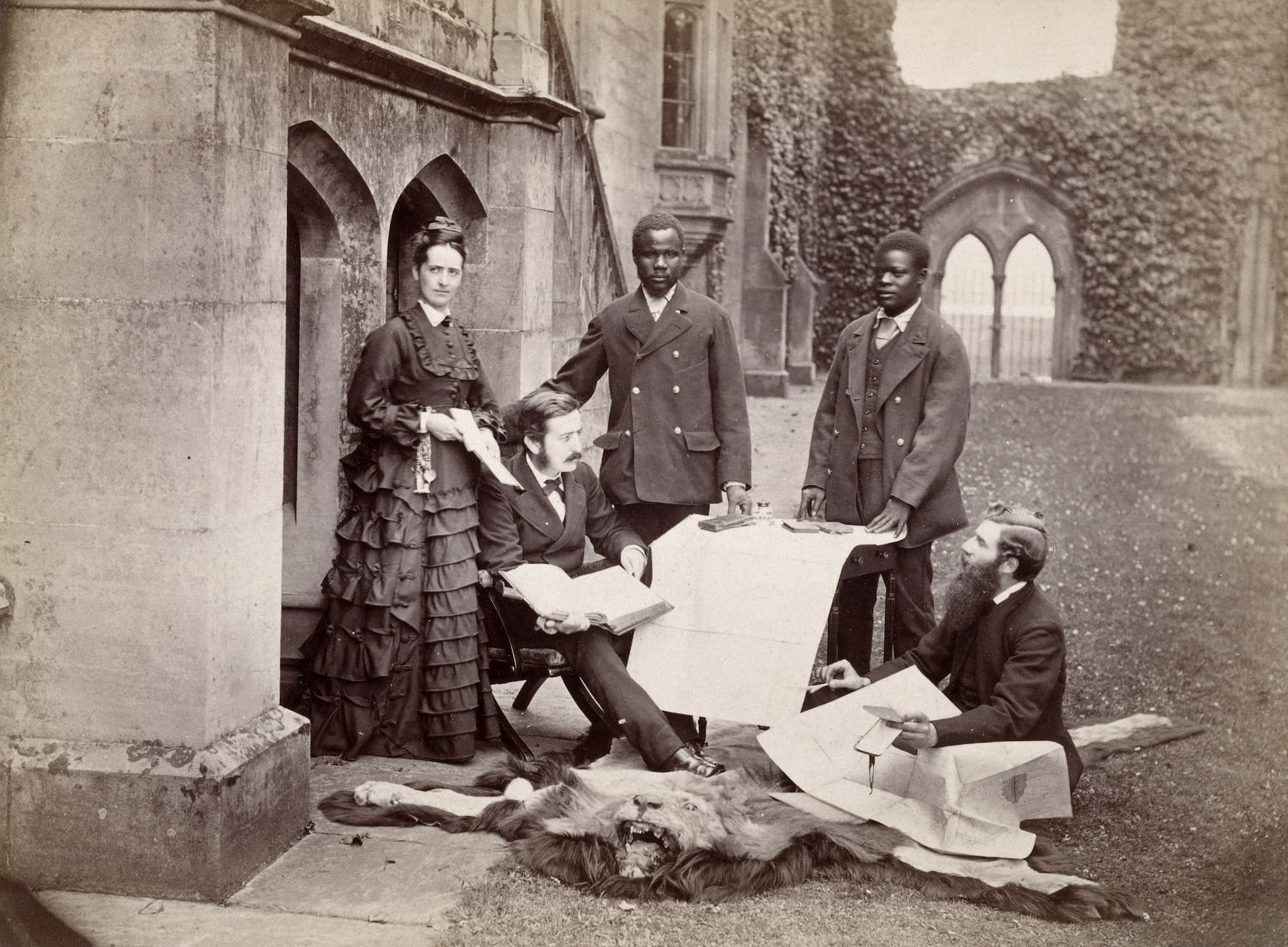From left to right: Agnes Livingstone, Thomas Livingstone, daughter and son of David Livingstone, Abdullah Susi, James Chuma and Reverend Horace Waller, by R Allen & Sons, 1874