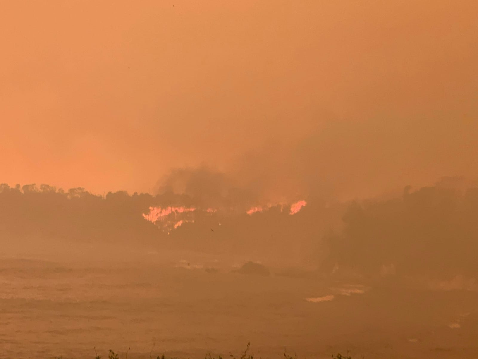 Malua Bay wildfire and a smoke-filled sky © Melinda Varcoe