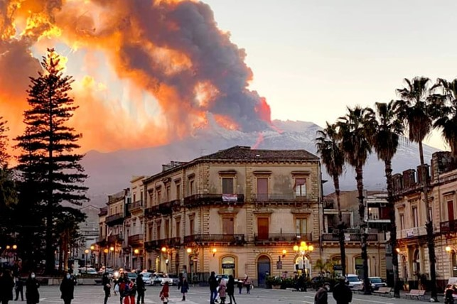 Mount Etna as seen from Catania, Europe's most active volcano © Guardian photograph: David Anastasi AP