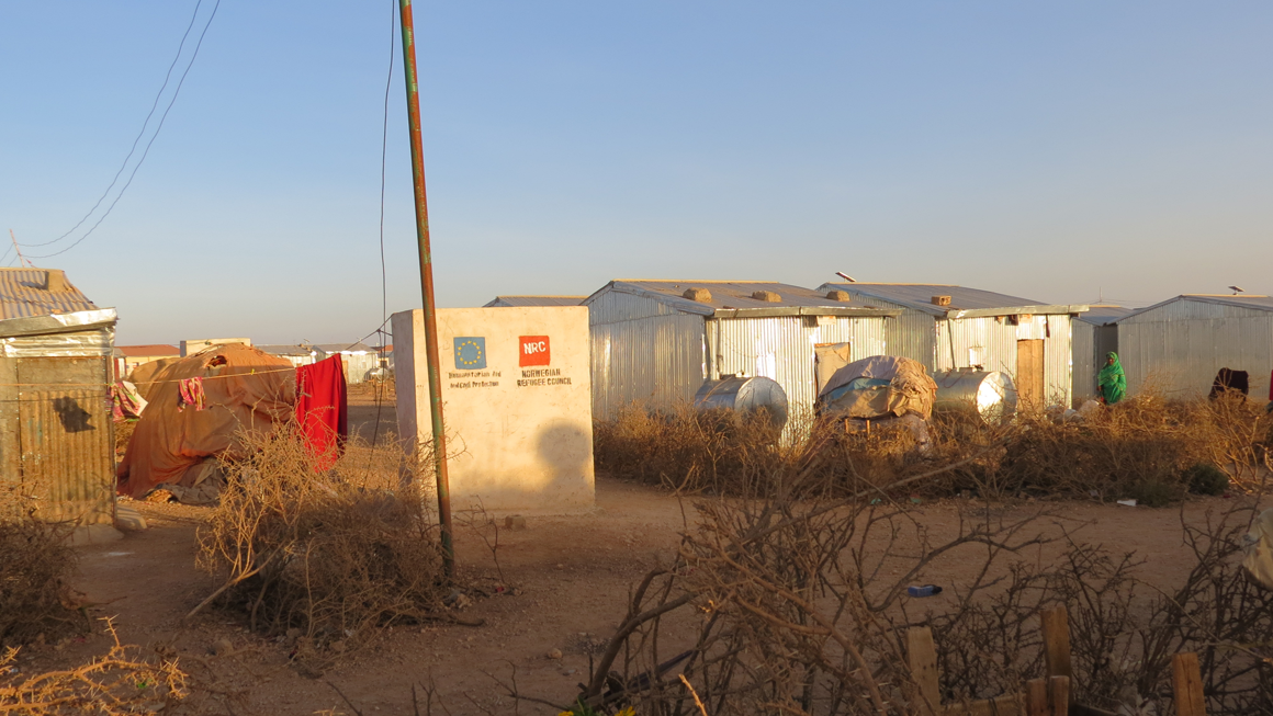 Digaale camp has more permanent metal structures after residents were assured they could stay. Image by Laura Hammond